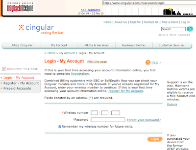 image of cingular login page from 2005