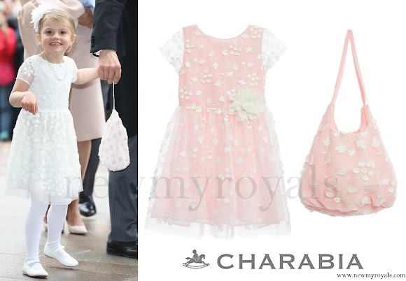Princess Estelle wore Charabia White Embroidered Tulle Dress and Tote