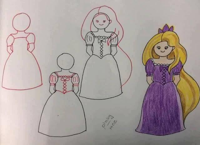 Belajar menggambar tokoh kartun Rapunzel untuk anak-anak