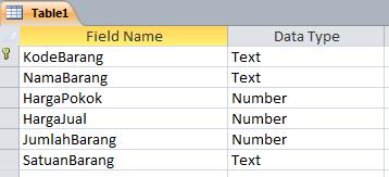 Tabel Menggunakan Access 2010