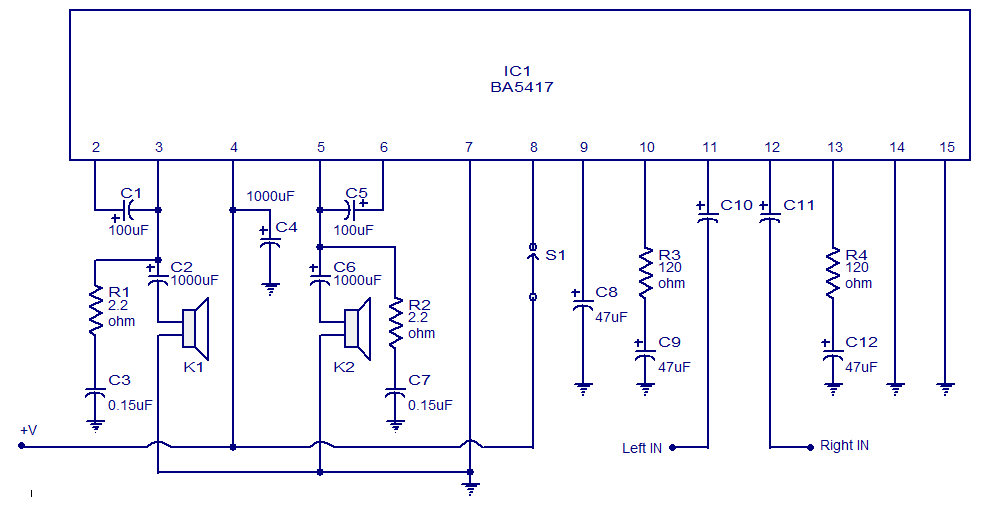 Schematic Amp Wiring Diagram Ba5417 Stereo Power Amplifier