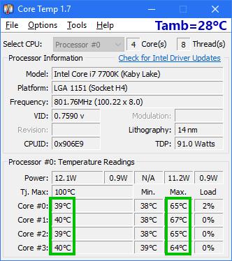 Core i7-7700K con Noctua NH-L9i temperaturas