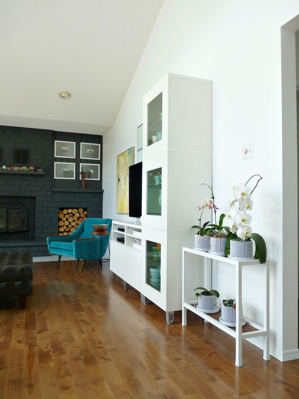 Living Room with Ikea Besta Unit + Vintage Plant Stand