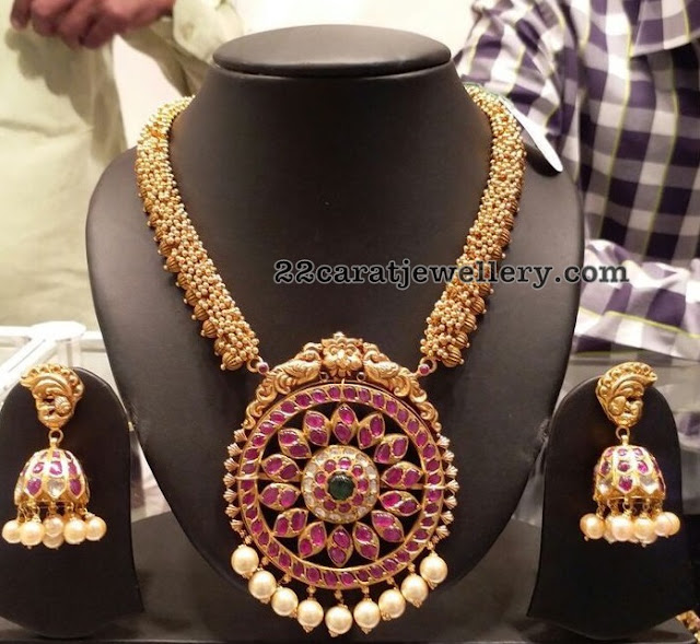 Antique Set with Ruby Pendant Peacock Jhumkas