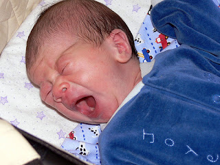 Image: Yawning - not crying - 8 days old, by jessicafm  / Jessica Merz, on Flickr