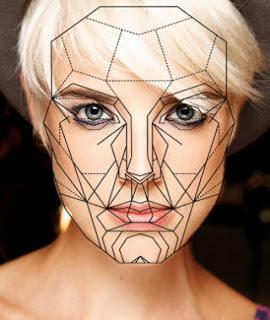 Agyness Deyn overlaid  with Marquardt's Golden Ratio FaceTemplate