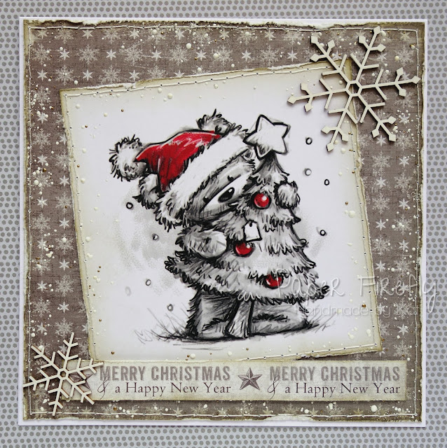 Shabby chic Christmas card with little bear with tree (image is LOTV art pad - discontinued)