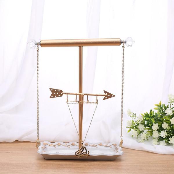The Metal Arrow and T-Bar Jewelry Display Organizer Stand is ideal for displaying minimalist necklaces | NileCorp.com