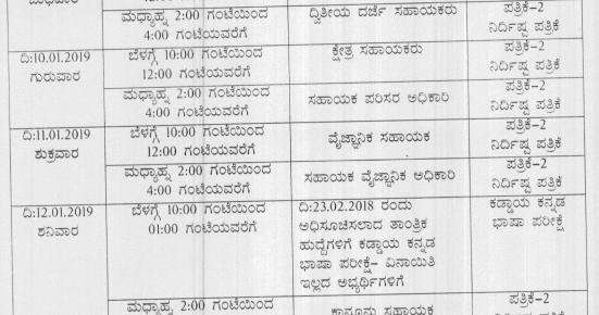 KPSC Exam Date 2019 ಡೌನ್ಲೋಡ್ Karnataka PSC Time