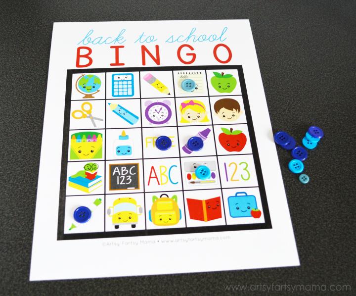 Free Printable Back to School Bingo artsy-fartsy mama