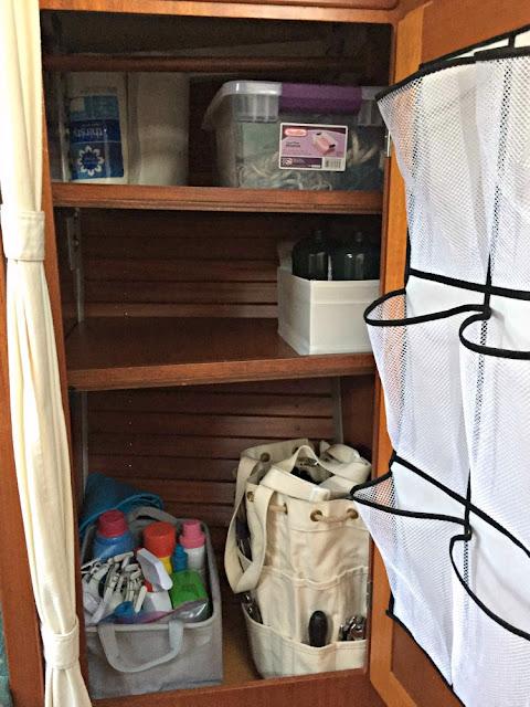 Sailboat, hanging locker, shelves, installation