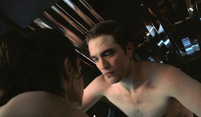 Robert Pattinson as Eric Packer, intimate love making scene, Juliette Binoche, Cosmopolis (2012), Directed by David Cronenberg