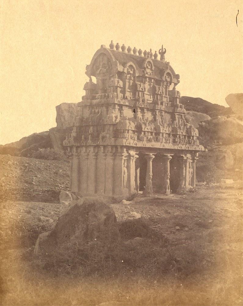 General view of the Ganesha Ratha, Mamallapuram, Tamil Nadu - c.1885