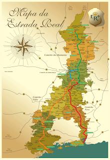 Os quatro caminhos que formam a Estrada Real. Fonte: Instituto Estrada Real.