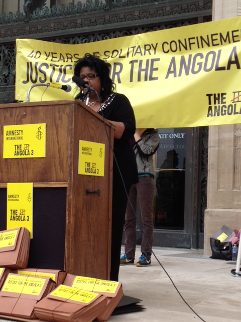 Angela A. Allen-Bell speaks in Baton Rouge at the Louisiana State Capitol on April 17, 2012 when Amnesty International delivered a 67,000 signature demanding Herman Wallace and Albert Woodfox's immediate release from solitary confinement.