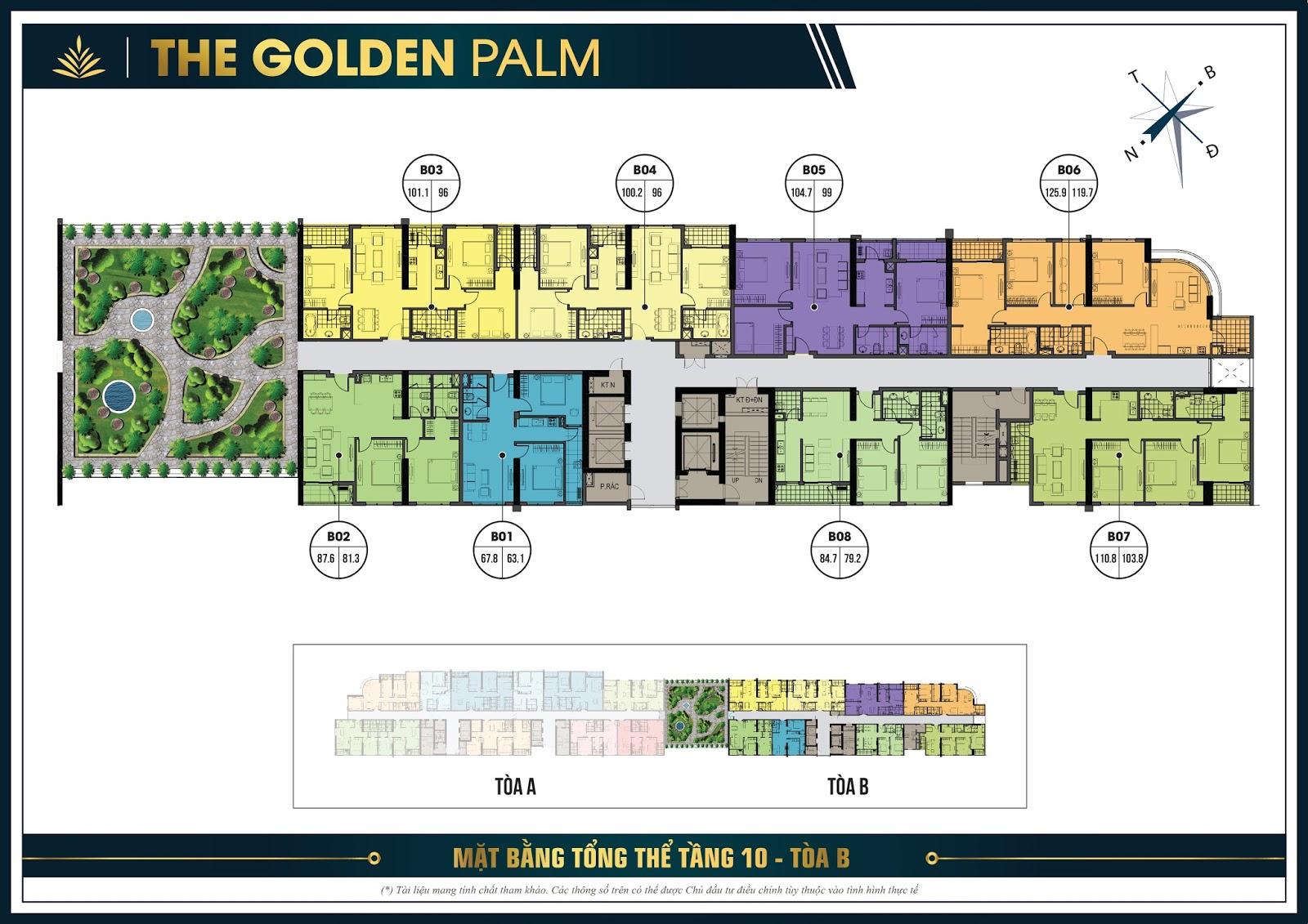 Thiết kế mặt bằng căn hộ điển hình tầng 10 tòa B - The Golden Palm