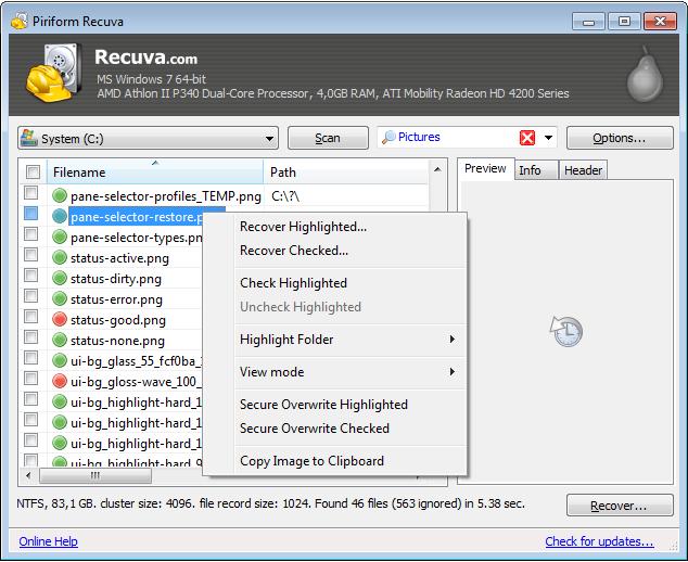 Mengembalikan File yang Terhapus   Recuva V1.48.980 (Portable)