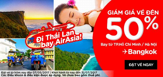 Air Asia khuyến mãi giảm 50% giá vé đi Bangkok