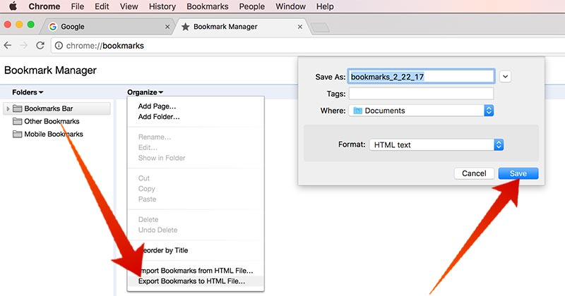 how to delete bookmarks on chrome on mac