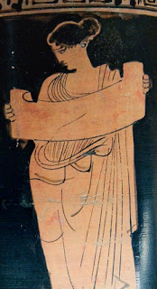 Woman reading a scroll (Attic vase, ca. 435 BCE)
