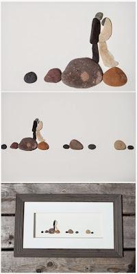 hermosa arte con piedras de rio