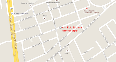 Mostrando onde exatamente esta o condomínio este mapa pode lhe guiar para a R. Desemb. Barreto Cardoso, 384, Gruta de Lourdes, Maceió-AL