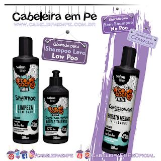 Linha Tô De Cacho Men - Salon Line (Shampoo e Creme para pentear liberados para Low Poo) - (Condicionador liberado para Low Poo e Cowash)