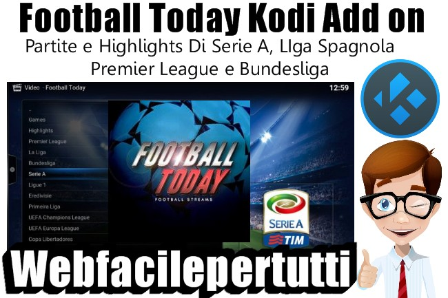 Football Today Kodi Add on | Come Vedere Partite e Highlights Di Serie A, LIga Spagnola ,  Premier League e Bundesliga.