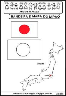 Bandeira e mapa do Japão