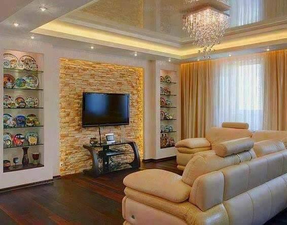35 Gypsum Tv Units Custom With Stone Wall Designs Dwell Of Decor