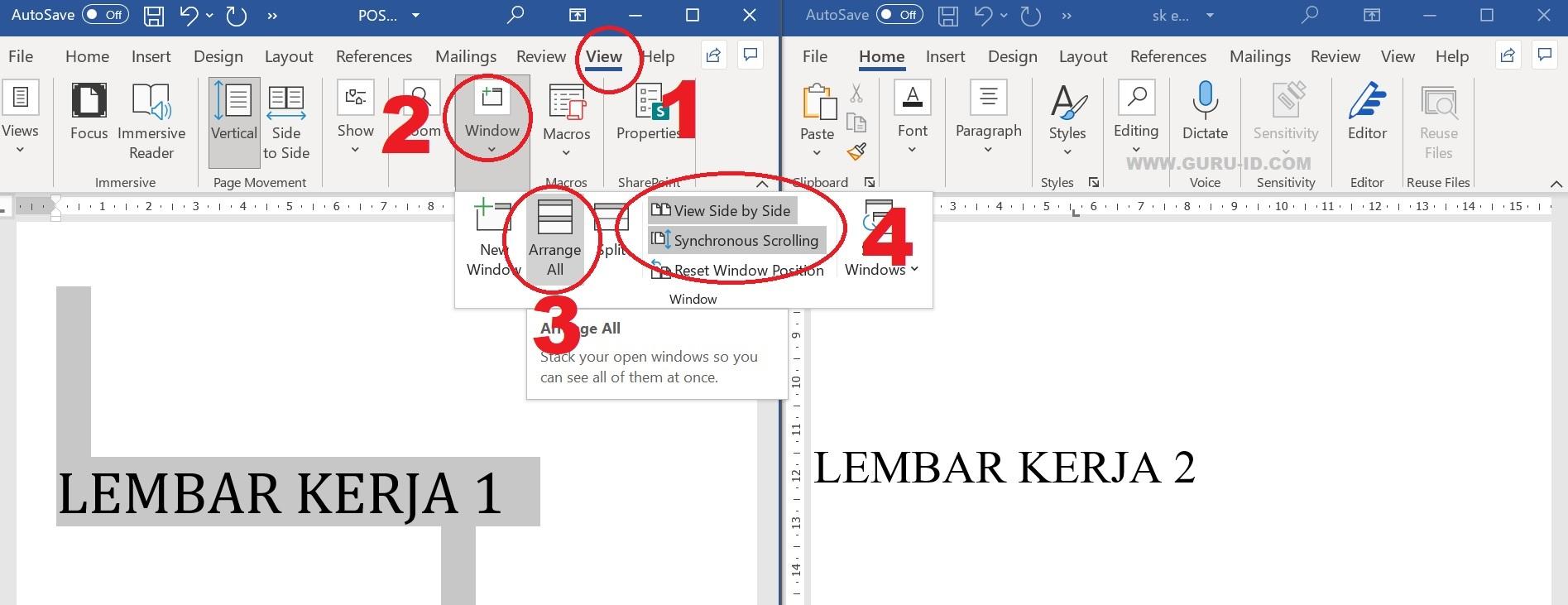gambar cara Menampilkan Lembar kerja Word dan Excel bersamaan