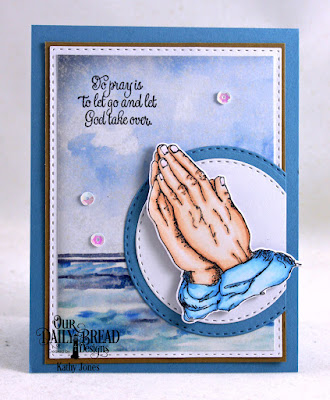 Our Daily Bread Designs Stamp Set: Handle with Prayer, Our Daily Bread Designs Custom Dies; Praying Hands,  Double Stitched Rectangles, Double Stitched Circles, Our Daily Bread Designs Paper Collection: By the Shore