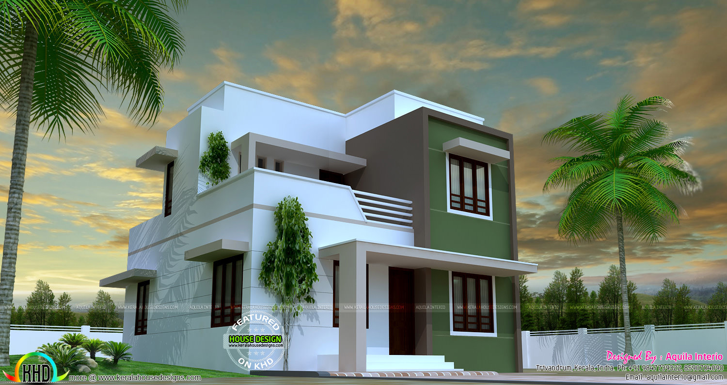 1150 sq ft simple beautiful flat roof house kerala home for Minimalist house flat roof