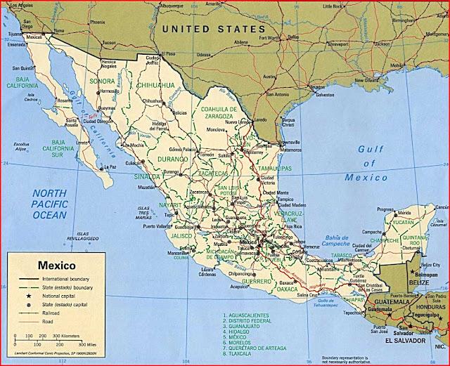 Gambar Peta politik Meksiko 1997
