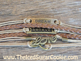 Dream Believe Love Brown Tan Leather Bracelet by The Iced Sugar Cookie