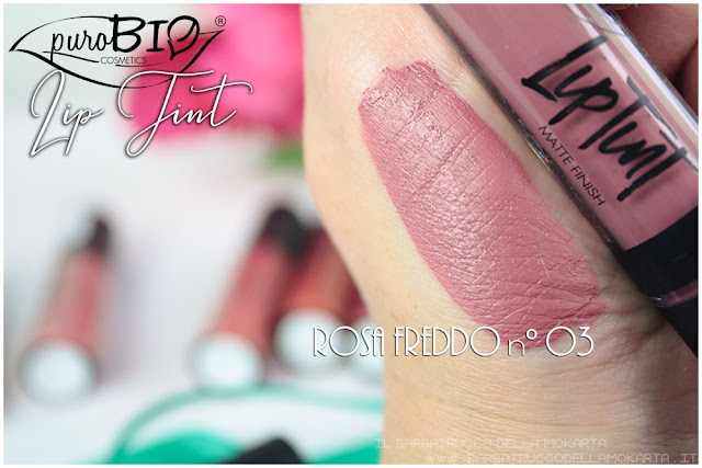 rosa freddo 03 Liptint lipgloss purobio cosmetics swatches review makeup naturale