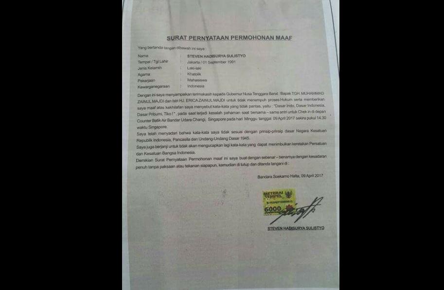 Surat pernyataan permohonan maaf Steven