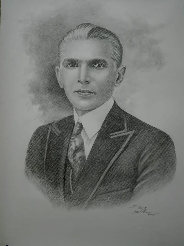 Pencil Sketch Quaid e Azam Muhammad Ali Jinnah