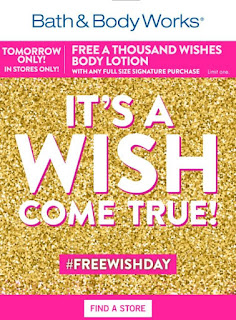 Bath and Body Works | Saturday, April 30, 2016 In-Store Event | Free A Thousand Wishes Body Lotion