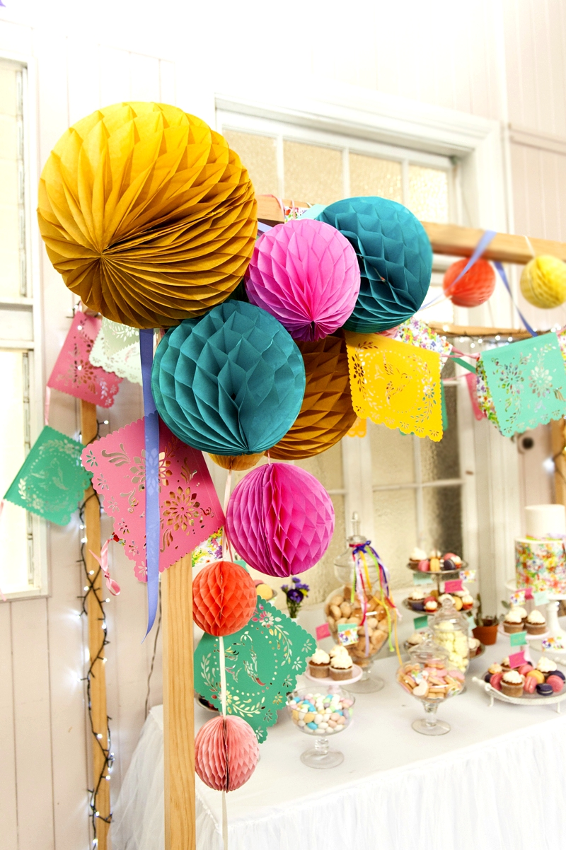 A Bright Summer Fiesta DIY Decorations and Desserts Table Styling - via BirdsParty.com