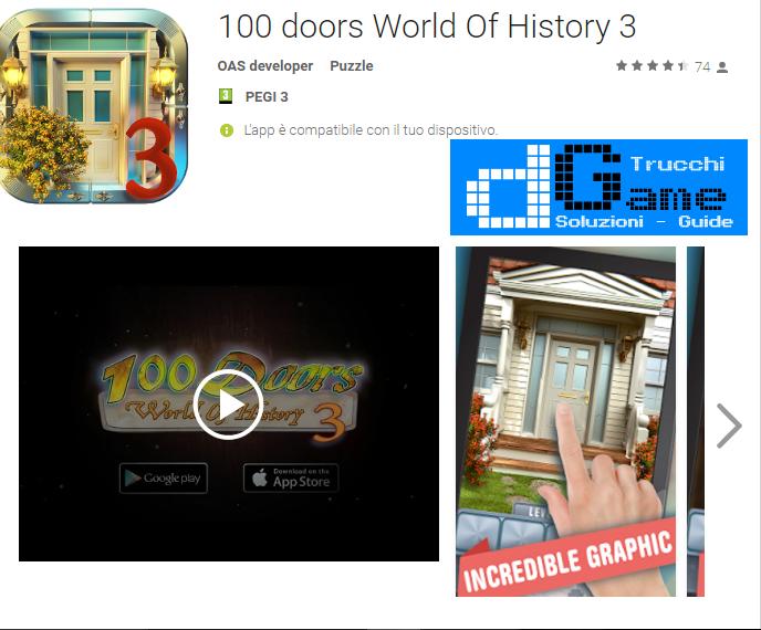 Soluzioni 100 Doors World of History 3 livello 41-42-43-44-45-46-47-48-49-50 | Trucchi e Walkthrough level