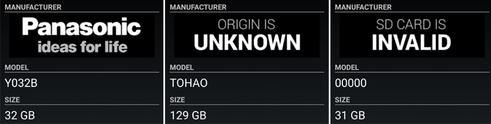 ORIGIN IS UNKNOWNやSD CARD IS INVALIDの意味