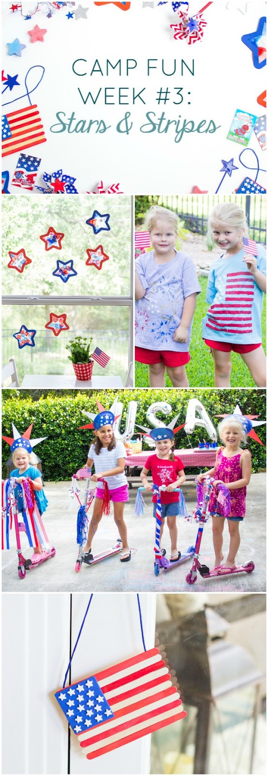 "Camp Fun ""Stars and Stripes"" Week - check out these patriotic crafts and activities for summer camp at home with your kids!"