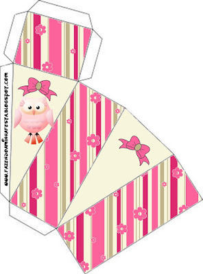 Pink Owl With Flowers and Stripes: Free Printable Boxes for Quinceanera Party.