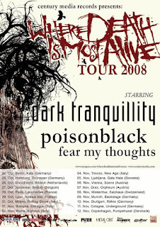 "Affiche de la tournée ""Where Death is Most Alive"" Tour 2008 de Dark Tranquillity"
