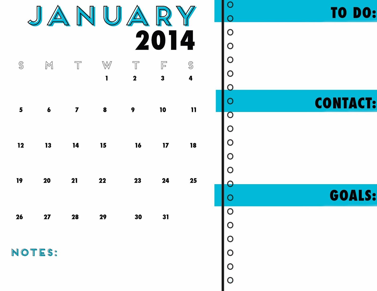 Idlized Free Printable Calendar Organizer January