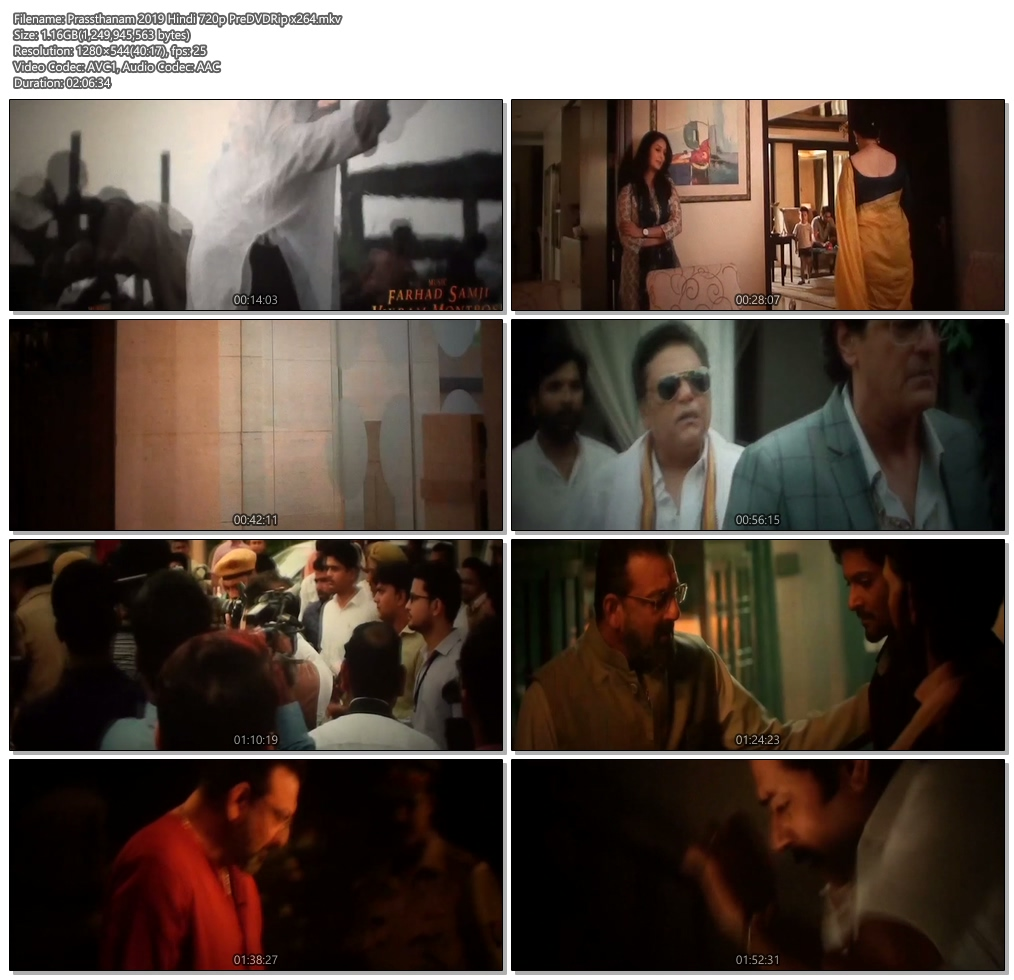 Prassthanam 2019 Hindi 720p PreDVDRip x264 | 480p 300MB | 100MB HEVC Screenshot