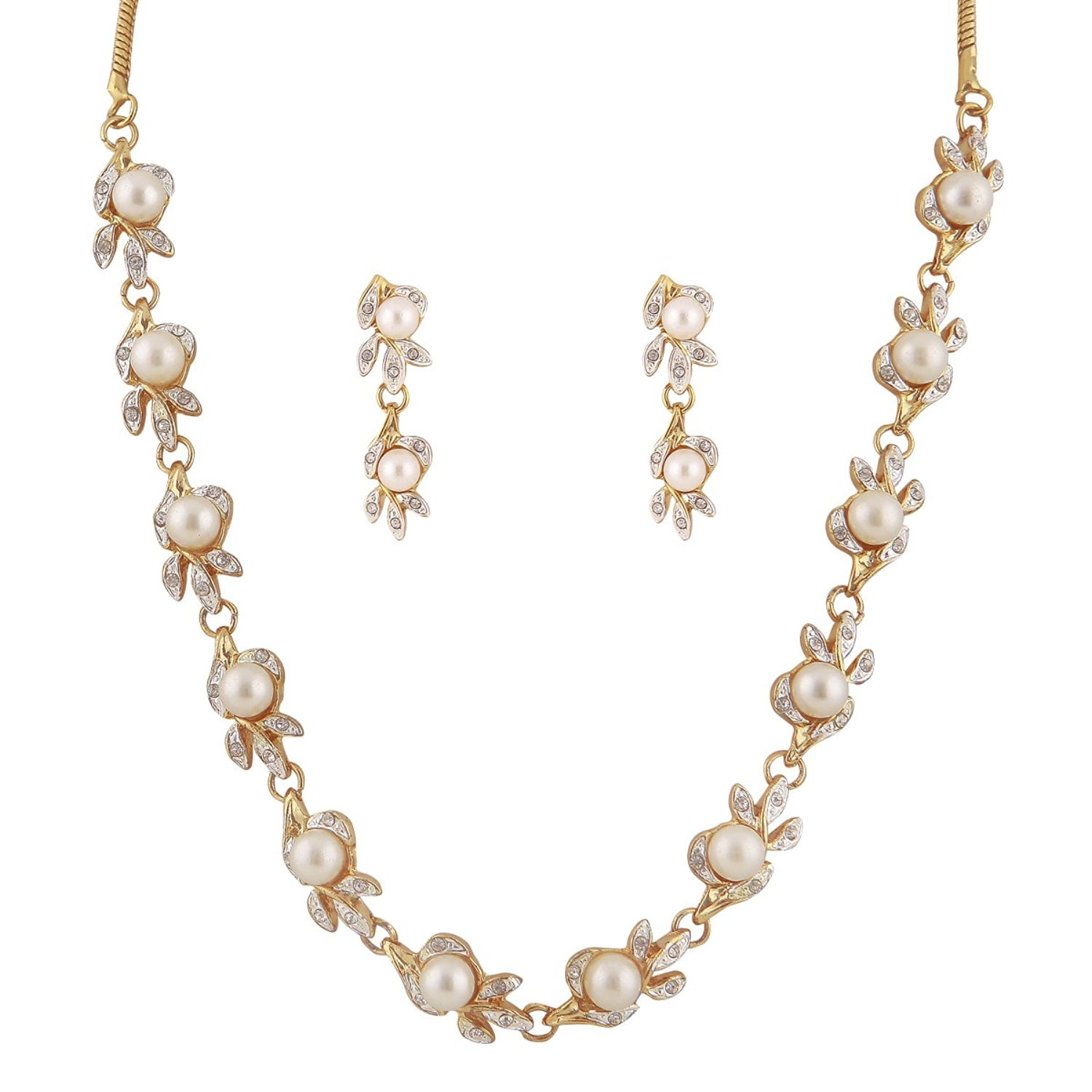 white pearl Sleek Neckalce set for women