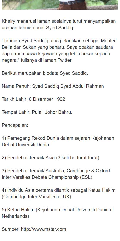 Syed Saddiq Catat Sejarah Menteri Termuda Negara
