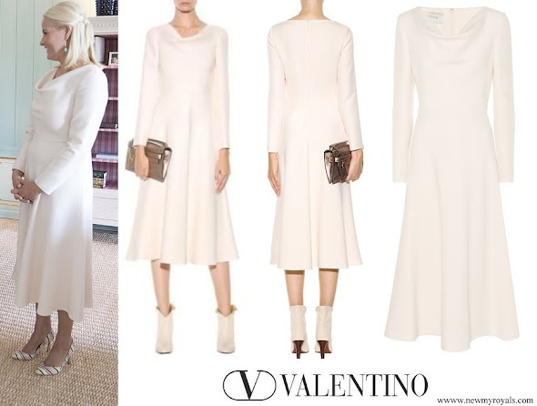 Crown Princess Mette-Marit wore Valentino Virgin Wool And Silk-Blend Midi Dress